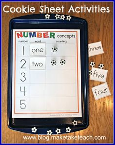 Great for math centers! Early numeracy activities for use on a cookie sheet. Free sample templates.