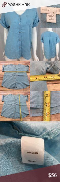 2a2a26c0782 Small J. Jill Love Linen Button Down V-Neck Top Measurements are in