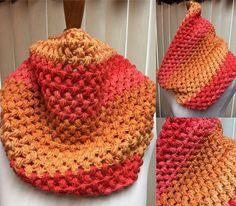Puff Stitch Cowl, Crochet Cowl Scarf, Orange Crochet Cowl, Striped Cowl, Multi Color Cowl, Gifts for Her, Circle Scarf, Crocheted Cowl by CozyNCuteCrochet on Etsy
