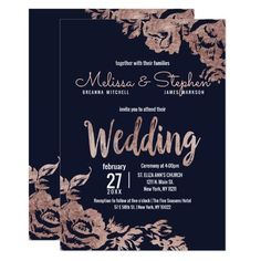 Blue Wedding Flowers Navy Blue and Rose Gold Floral Wedding Invitation - Shop Navy Blue and Rose Gold Floral Wedding Invitation created by I_Invite_You. Personalize it with photos Rose Wedding, Purple Wedding, Wedding Tips, Wedding Cards, Wedding Flowers, Wedding Planning, Gold Flowers, Wedding Reception, Wedding Punch