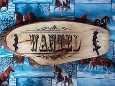 """Rustic Ranch Sign ~ Wooden Carved Cowboy and Cowgirl """"Wanted"""" Sign ~ 19 x 7 Live Edge Maple Wood"""