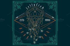 Thin line jellyfish label by karnoff on Creative Market