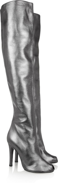 #VIONNET Metallic Leather Over-the-knee Boots