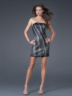Sheath Short Length Strapless Black Sequined Satin Hot Seller Cocktail Party Outwear