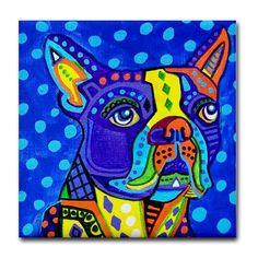 Boston Terrier Art Tile - Ceramic Coaster Tile - Dog Art Modern Abstract Gift