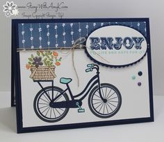 I used another brand new stamp set from the upcoming Stampin' Up! 2017-18 Annual Catalog to create my card for the Fab Friday color challenge this week. This stamp set is called Bike Ride an…