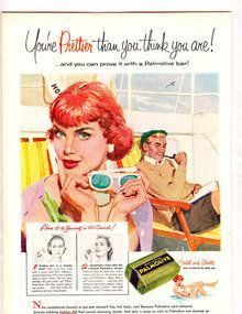 Vibrant 1955 Vintage Mid-Century Ad-  Shipboard Siren Selects Palmolive Soap for Flirt-worthy Beauty! (Via A Fine Madness at Go Antiques)