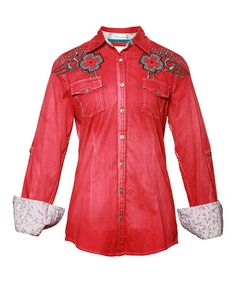 Take a look at this Red Embellished Simone Button-Up - Women by Roar Clothing on #zulily today!
