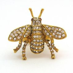 Kenneth-Jay-Lane-KJL-Gold-Swarovski-Bee-Cocktail-Ring-Ebay-Seller-CutiePie-Chic-Jewellery