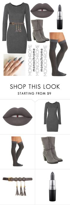 """GRAY"" by pjhglittergirl ❤ liked on Polyvore featuring L'Agence, Charlotte Russe, MAC Cosmetics and monochrome"