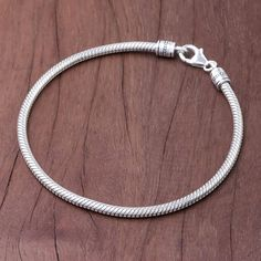Sterling Silver Snake Chain Bracelet from Thailand - Serpentine Path Mens Silver Jewelry, Mens Gold Bracelets, Silver Bracelets For Women, Sterling Silver Heart Necklace, Gold Chains For Men, Sterling Silver Chains, Silver Anklets, Jewellery, Men Accessories