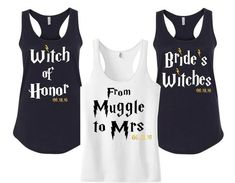 If you're not going totally Harry Potter with your theme (or even if you are), why not use it as the basis for your hen party? Travel in style in this 'Muggle to Mrs' top from 86 Level St Design, and have your bridesmaids rock the 'Bride's Witches' tees. Bachelorette Party Gifts, Bachelorette Shirts, Bachelorette Weekend, Wedding Advice, Wedding Themes, Wedding Ideas, Party Wedding, Wedding Speeches, Wedding Pins