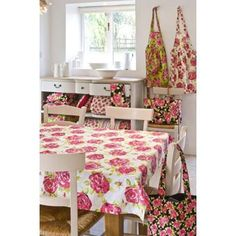 Tessa kitchen table linen in white /pink by Ragged Rose Surface Pattern Design, Pattern Designs, Patterns, English Cottage Style, English Decor, Floral Tablecloth, Shabby Chic Farmhouse, Textiles, Cabins And Cottages
