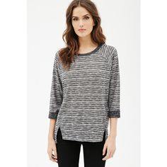 Love 21 Women's  Contemporary Marled Stripe-Patterned Top ($9.99) ❤ liked on Polyvore featuring tops, striped top, raglan sleeve top, stripe top, love 21 and white top