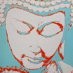 "Artist Amanda Bellino POP BUDDHA #1 36"" x36"" Buddha Canvas, Healing Meditation, Namaste, Amanda, Canvas Art, Sculpture, Pop, Gallery, Artist"