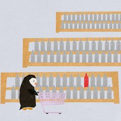 The Story Of A Sad Penguin And His Friend – A Bottle Of Wine #Illustration #Penguin