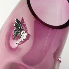 Vaso in vetro soffiato con applicazioni in argento 999 - FARFALLE  #vetrosoffiato #argentopuro #arte #design