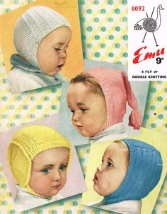 Free Vintage Knitting Patterns To Download : Patons 1238 DK & 4Ply Baby/Toddler Helmets & Bonnets - Vintage Knitti...