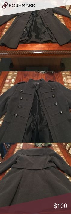 Grey women's wool coat I have a lightly used grey women's zip up wool coat. It has two pockets for your hands. I have only worn it a few times so it is in perfect condition. It has a polyester lining on the inside of the coat. It is a Medium size for women in the US. honee Jackets & Coats Pea Coats