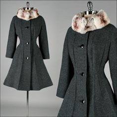 Vintage 1950s Coat Gray Wool Chinchilla Fur by millstreetvintage