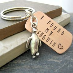 Personalized I Found My Penguin keychain, choose to add optional disc with initials, anniversary gift, engagement gift, wedding gift - Trend Resiliance Quotes 2020 Penguin Love, Cute Penguins, Penguin Craft, Couple Items, Metal Letters, Engagement Gifts, Metal Stamping, Thoughtful Gifts, Key Rings