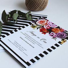 Siyah Beyaz Çiçekli Düğün veya Nikah davetiyesi Tasarım: © Dört Köşe Davetiye