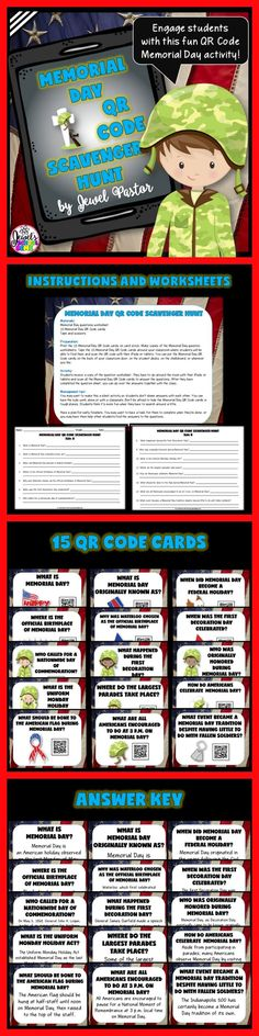 Memorial Day Activities for Kids: Memorial Day QR Code Scavenger Hunt by Jewel Pastor on Teachers Pay Teachers | Wanting to keep kids engaged while learning about the history of Memorial Day? Click through to avail of this fun Memorial Day QR Code Scavenger Hunt from TpT. It's sure to keep your students on task while learning and having fun.
