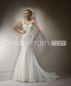 Awesome Trumpet/Mermaid One-shoulder Floor-Length Chapel Beaded Wedding Dreses