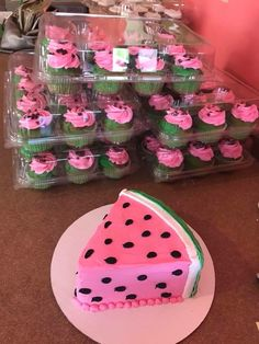 One in a melon birthday cake cupcakes pink green