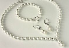 white pearl jewellery set bridal prom ball flowergirl gift - The Supermums Craft Fair