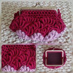 Minibag bicolore bordeaux e rosa. Uncinetto. Crochet
