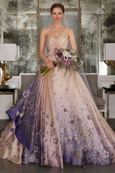 romona keveza bridal spring 2017 one shoulder sweetheart silk organza ball gown wedding dress mv blush color violet print -- Romona Keveza Spring 2017 Wedding Dresses Spring 2017 Wedding Dresses, Colored Wedding Dresses, Bridal Dresses, Wedding Colors, Decor Wedding, Wedding Flowers, Floral Wedding, Wedding Dress With Purple, Homecoming Dresses