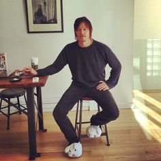 Norman Reedus (love the slippers)