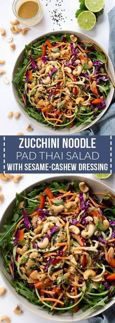 Zucchini Noodle Pad Thai Salad with Sesame-Cashew Dressing is made with the freshest raw ingredients including carrots, zucchini, cabbage, arugula, red peppers and a creamy sesame-cashew dressing! #ad #healthy #dinner #recipe #thai #vegan #salad #healthyrecipes @organicgirl