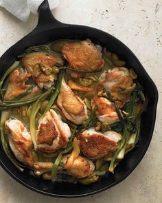 Braising involves the same basic steps as stewing but uses less liquid. The result: golden pieces of chicken with a flavorful sauce. For even browning, use a heavy pan, like a cast-iron skillet or a Dutch oven.