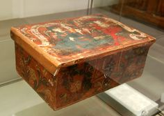 South German casket from the 15th century made of painted softwood.