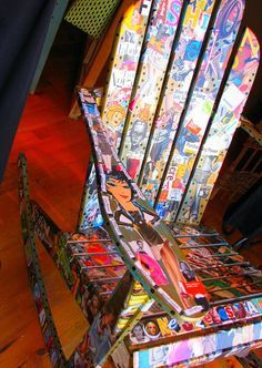 Chair Affair by lorimarsha, via Flickr - This chair was decoupaged for a charity auction. I would love it!