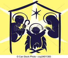 Baby Jesus in a manger abstract