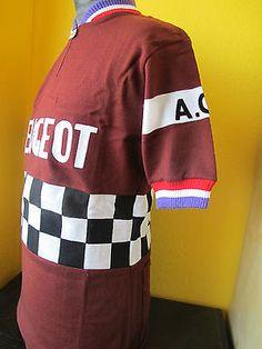 Anquetil s amateur team   PEUGEOT ACS SOTTEVILLE TEAM 70 s VINTAGE ACRYLIC CYCLING  JERSEY Sz L 635e43ec7