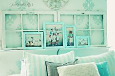 old windows and blue frames. would looks soooo cute in a beach house or cottage. Mantle Headboard, Headboard Ideas, Diy Headboards, Bedroom Decor, Wall Decor, Bedroom Ideas, Master Bedroom, Shabby Chic Campers, Old Windows