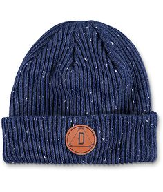 Update your modern style with the Porter navy fold over beanie from Dravus. This epple dark blue beanie features a leather Dravus circular patch on the fold over cuff and is made for keeping your head warm in a stylish way.