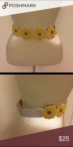 """Yellow Flower Anthropologie Belt Very cute! All bead detail. Elastic band. 27"""" long Anthropologie Accessories Belts"""