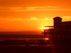 The Grand Pier, Weston-super-Mare, by Sally-Anne Griffiths Weston Super Mare, Sally, Seaside, Celestial, Sunset, Outdoor, Outdoors, Beach, Sunsets