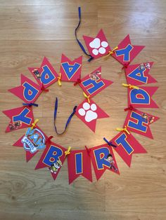 Paw Patrol birthday banner, party decor. chase rubble