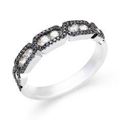 14k White Gold Black Diamond Ring-Andrews Jewelers, Buffalo NY
