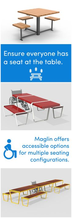 Maglin offers accessible options for multiple seating configurations. The Lexicon Collection table and 400 Series Cluster seating are available in standard accessible designs. Contact us to learn more. #Maglin #MaglinSiteFurniture #Accessible #SiteFurnishings #PicnicTable #ADA30 #Bench #WheelchairAccessible #LandscapeArchitecture #LandscapeArchitect #LandscapeDesign #UrbanPlanning #OutdoorSeating #OutdoorFurniture