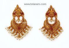 22K Gold 'Lakshmi' Ear Hangings (Chand Bali ) (Temple Jewellery) Gold Temple Jewellery, Royal Jewelry, Gold Jewelry, Jewelery, Indian Jewellery Design, Indian Jewelry, Gold Drop Earrings, Short Necklace, Jewelry Patterns