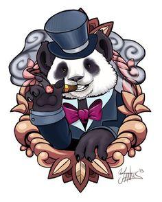 Panda-Wearing-Hat-Smoking-Cigar-Tattoo-Design-By-Yantus.jpg (453×566)