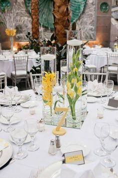 yellow and green floral centerpieces.