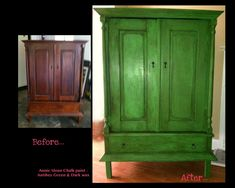 My Armoire Project - Before & After  Annie Sloan Antibes Green!